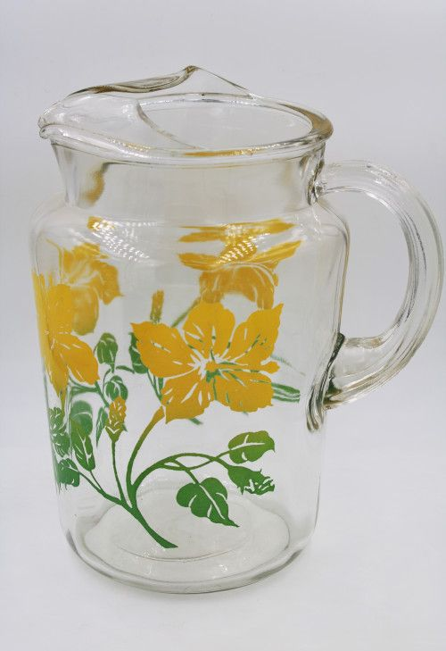Vintage Anchor Hocking Day Lily Flower Pattern Glass Pitcher Vintage Glass Pitchers Pattern Glass Glass Pitchers