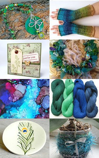 Green and Teal Treasures  by Corkycrafts on Etsy--Pinned with TreasuryPin.com
