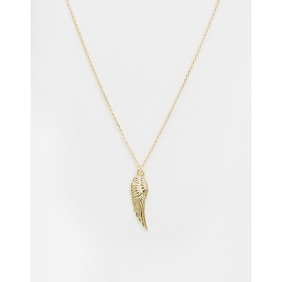 Orelia Metal Wing Long Necklace (€17) ❤ liked on Polyvore featuring jewelry, necklaces, gold, adjustable chain necklace, long pendant necklace, metal necklace, pendants & necklaces and wing pendant necklace