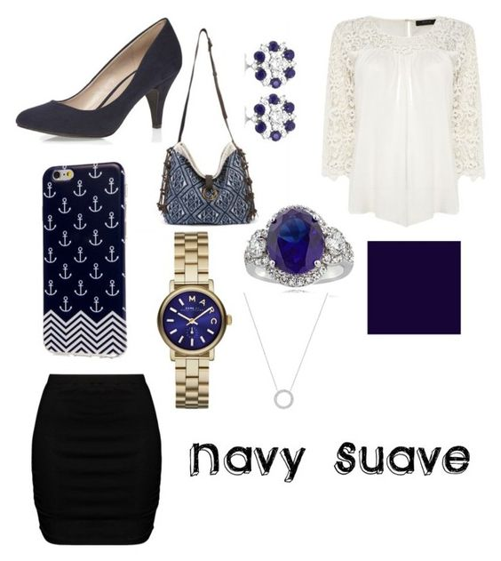 """""""Navy Suave"""" by britt-heavs ❤ liked on Polyvore featuring VILA, Zizzi, JADEtribe, Dorothy Perkins, Marc by Marc Jacobs, Icz Stonez, Allurez, Michael Kors, women's clothing and women"""