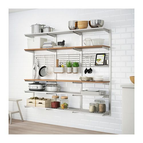 KUNGSFORS Suspension rail with shelf/wll grid - stainless