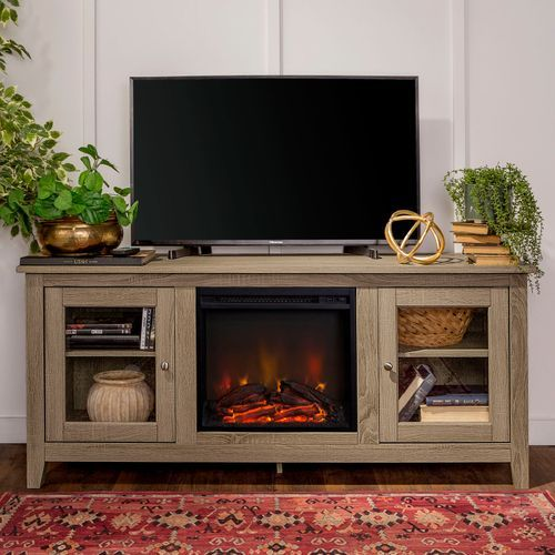 Traditional 58 Driftwood Fireplace Tv Stand With Doors