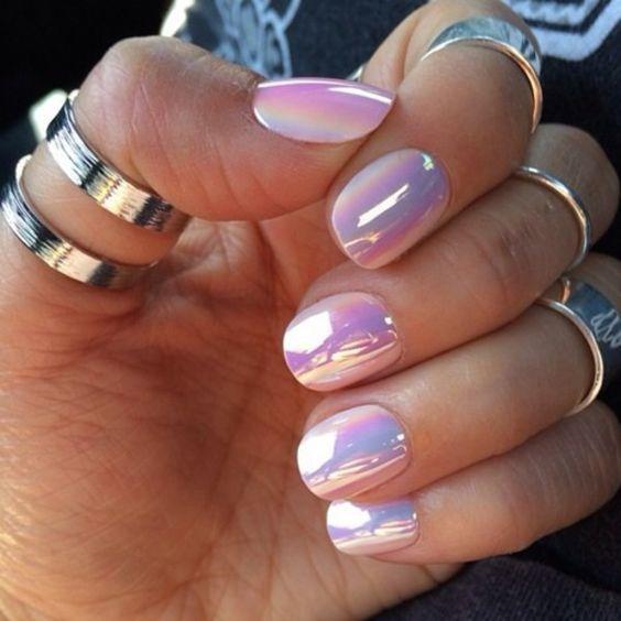 Nail polish: nails nails art pink white aqua beautiful nails cute jewels rosa gold yellow metallic