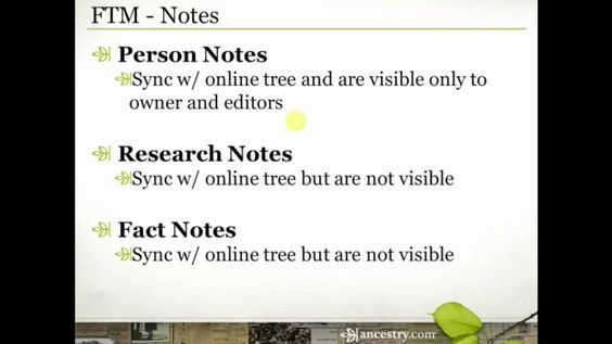 Family Tree Maker: Notes - Person Notes.  Research Notes.  Fact Notes.  Source Notes.  There are a lot of places to keep notes in Family Tree Maker.  Join Crista Cowan for a look at the different notes features in FTM and a look at how she keeps her own notes to help guide her family history research.