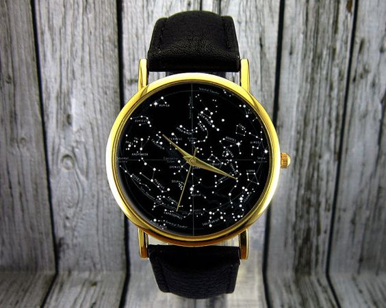 Constellation Vintage Watch | En cuir Watch | Mens Watch | Mens Watch | Idée cadeau | Montre personnalisée | Accessoire de mode | Hémisphère Nord