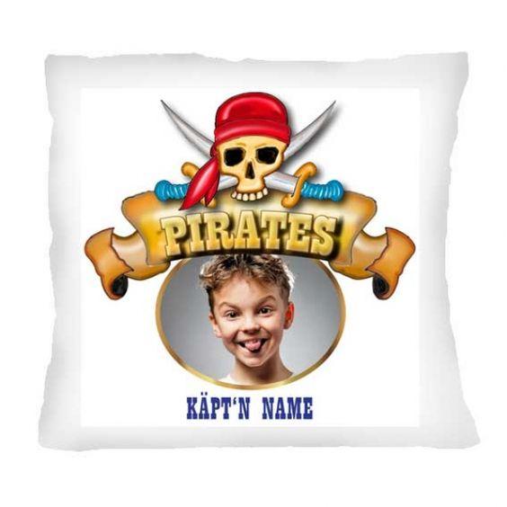 Piraten Fotokissen mit individuellem Foto und Namen des Kindes