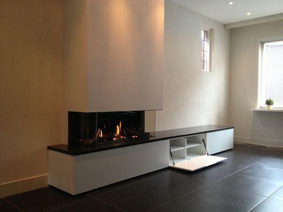 Haard en meubel gashaard pinterest - Holzaufbewahrung wohnzimmer ...