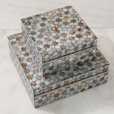 """Global Views Mother of Pearl Box Size: 4.5"""" H x 13"""" W x 13"""" D"""