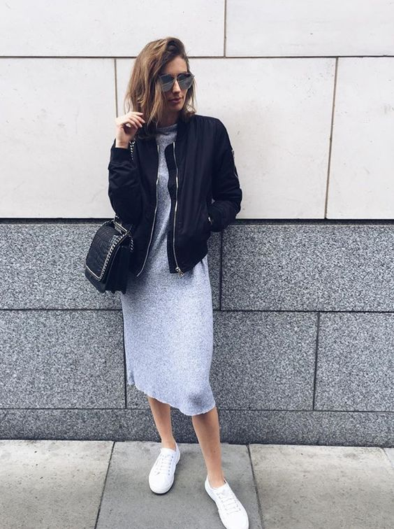 try a bomber jacket over a jersey midi dress: