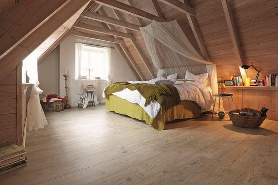 Slaapkamer hout met laminaatvloer - MEISTER Laminaat LD 200 # ...