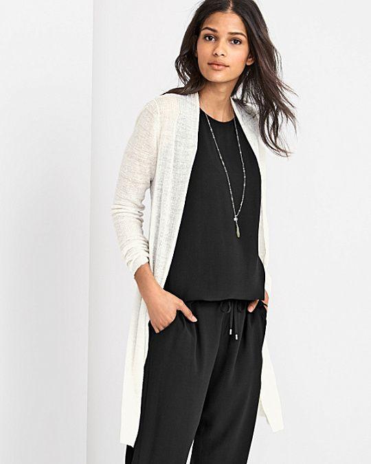 Eileen Fisher Sheer Hemp Textured Cardigan Sweater in Bone with ...