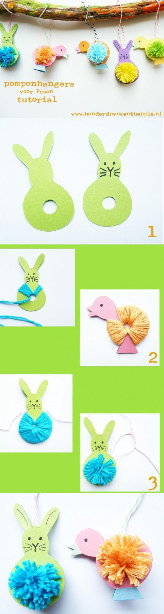 Easter pompoms animals
