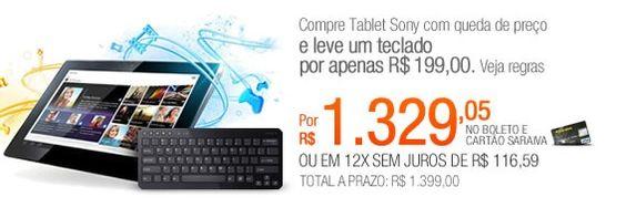 Chegou a hora de comprar seu tablet da sony, com esse super desconto da Saraiva, você vai vai adquirir por um preço exclusivo, o tablet de 32gb com Android 4.