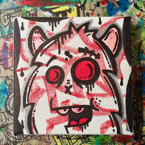 Jencalle Original Graffiti Art Canvas Pop Outsider Painting Folk Street Modern  | eBay