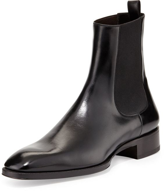 Tom Ford Gianni Leather Chelsea Boot, Black