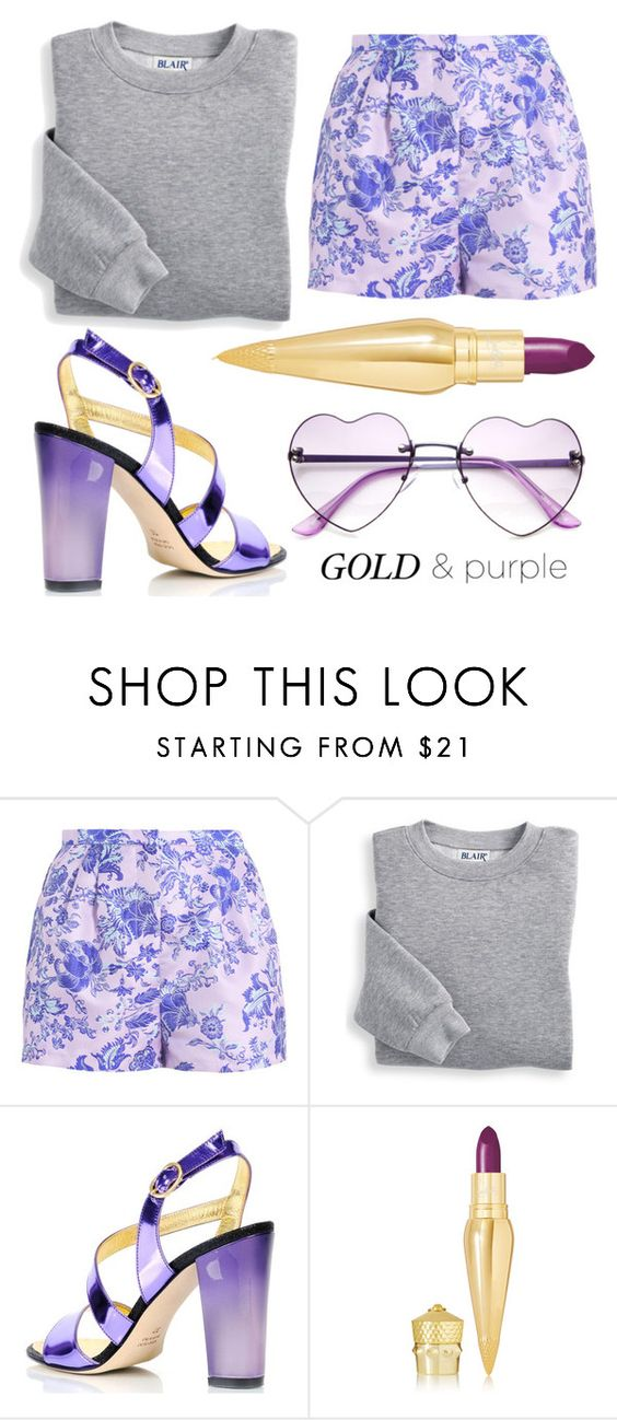 """Gold and Purple"" by minchu ❤ liked on Polyvore featuring Blair, Kim Kwang and Christian Louboutin"