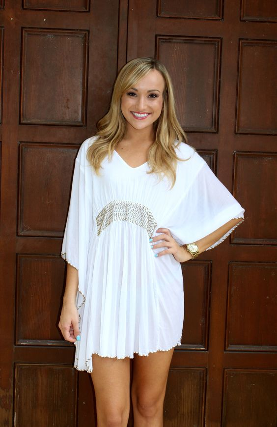 Beaded Beach Cover Up - White – Blu Dulce