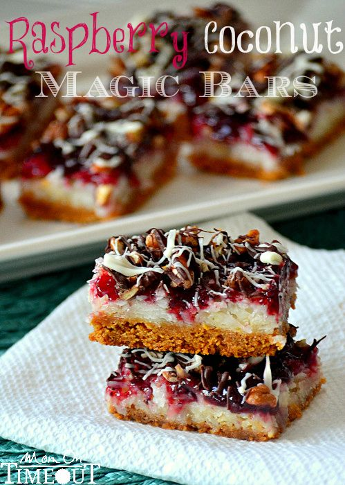 Raspberry Coconut Magic Bars       1 2/3 cup graham cracker crumbs      1 stick {1/2 cup} butter, melted      2 Tbls sugar      3 cups sweetened, flaked, coconut      1 14 oz can sweetened condensed milk      1 cup seedless raspberry preserves {or the flavor of your choice}      1/2 cup chopped pecans      1/2 cup semisweet chocolate chips      1/3 cup white baking chips      1 tsp shortening