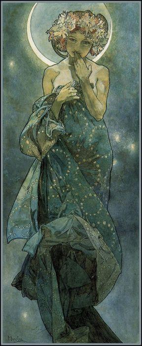 'Moonlight' by Mucha.: Alfons Mucha, Art Nouveau, Art Poster, Art Deco, Alphonse Mucha, The Moon
