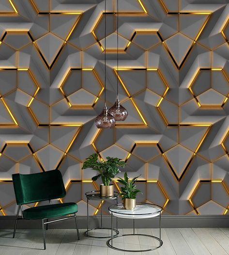 Gray Panel Gold Look Decor Geometric Background Wallpaper Self Etsy Living Room Wall Wallpaper Wall Panel Design Decor