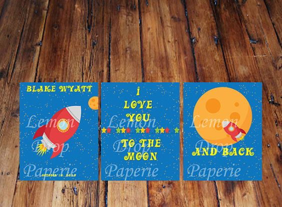 Rocket  To the moon and back baby nursery by LemonDropsandMore, $10.00
