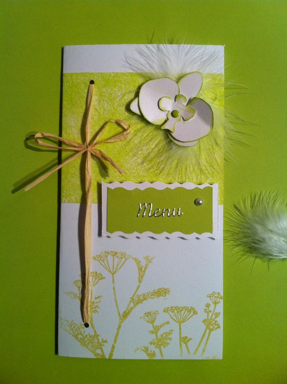 Menu vert anis – mariage «orchidée et plume | Mon faire-part est unique «