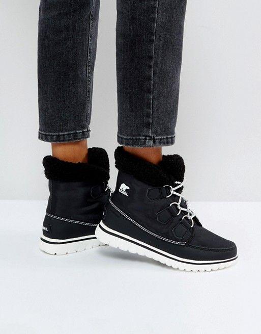 Sorel Cozy Carnival Black Waterproof Flat Boots | Flat boots