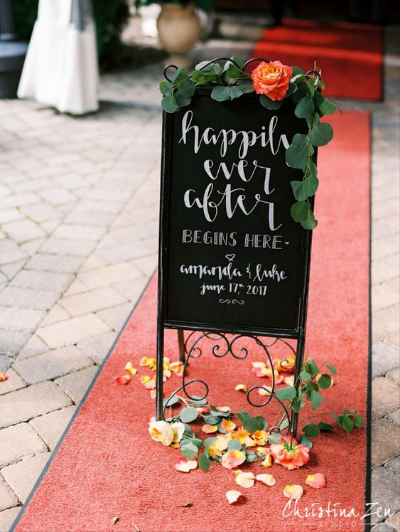 Happily Ever After Begins Here Wedding Sign. Christina Zen Studios.