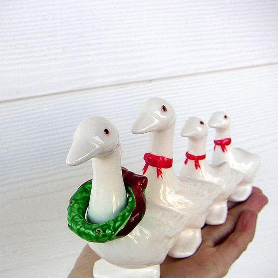 Vintage Dept 56 Holiday Geese Ceramic Figurine by fifthseason