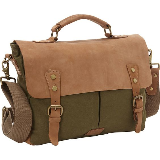 Vagabond Traveler Casual Style Cowhide Leather Cotton Canvas Messenger... ($87) ❤ liked on Polyvore featuring men's fashion, men's bags, men's messenger bags, green and mens vintage leather messenger bag
