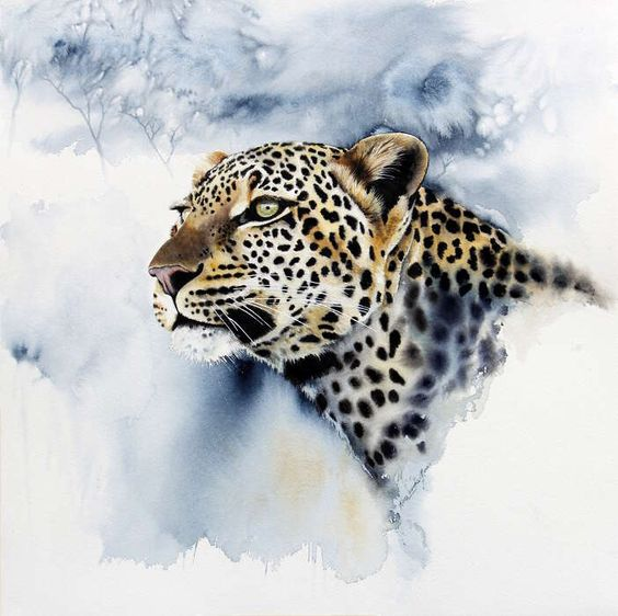 """39. Leopard Head</br>  Watercolour </br> 22½ x 22½ inches (57.2 x 57.2 cms) </br> £1,800.00</br> <strong> <b><span style=""""color:#8b0000;"""">SOLD</span></b></strong>"""