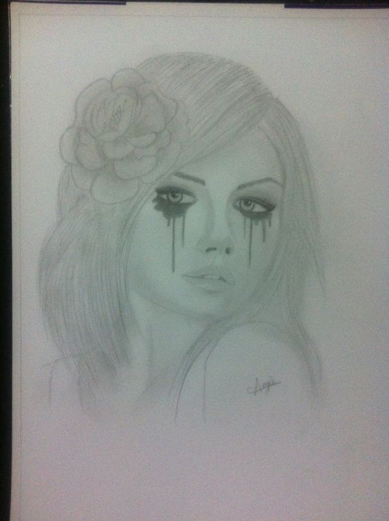 Crying girl pencil drawing.