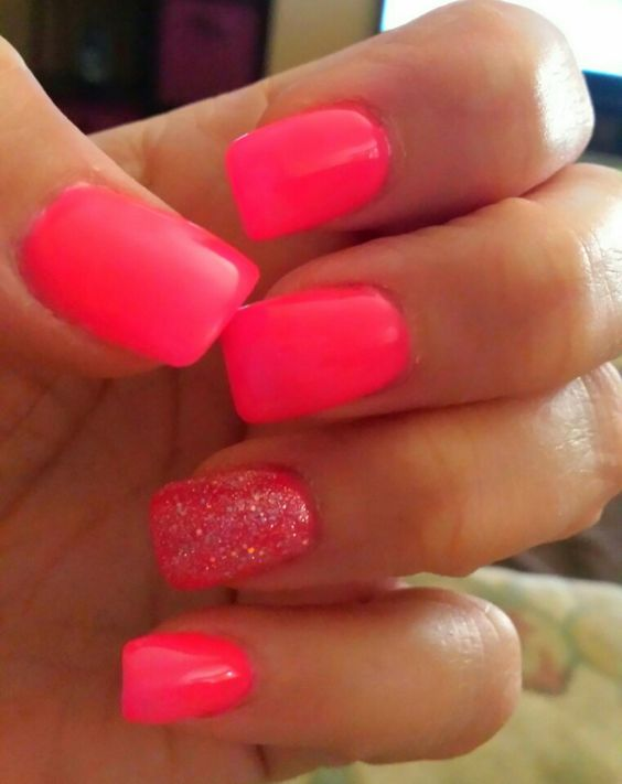 bright pink nails with one glitter nail