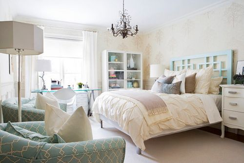 love the use of teal; especially the headboard.
