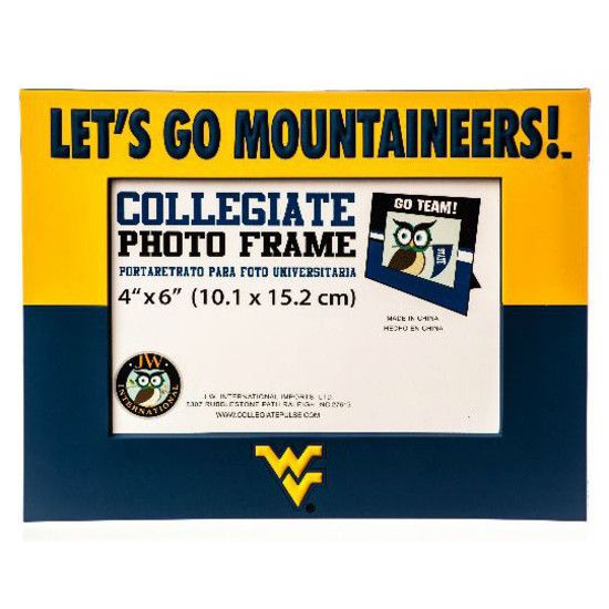 Share Your Favorite Mountaineer Memories In Our Blue And Gold 4 X 6 Pvc Frame With Let S Go Mountaineers Across The Top And The Flyin Letting Go Frame Wv Logo