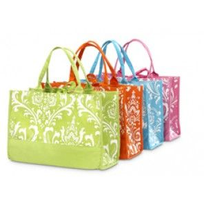 Colored Damask Tote Bags -