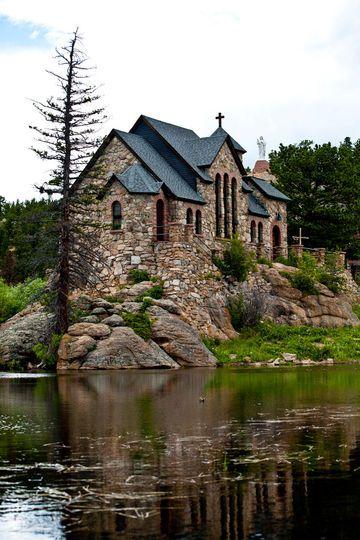 Prettiest Catholic Church EVER. Chapel on the Rock at Saint Malo, CO.