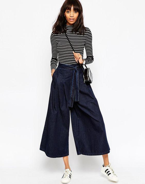 ASOS Denim - Jeans con fondo ultra ampio e nodo in vita indaco