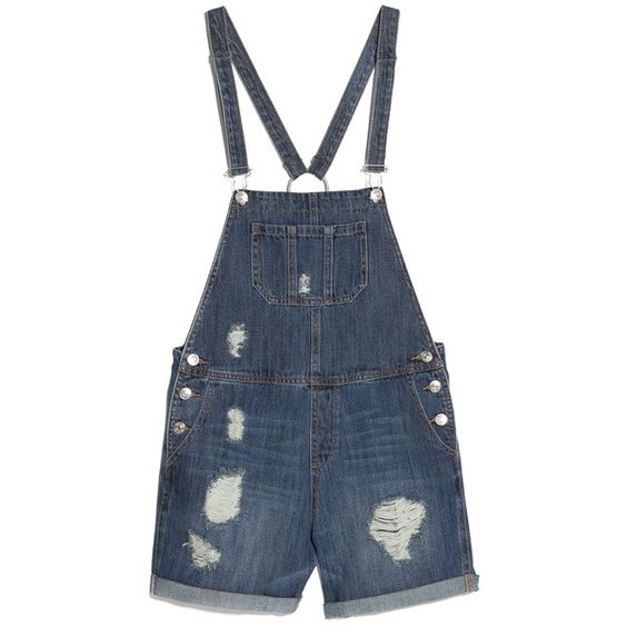 Medium Denim Dungarees ($27) ❤ liked on Polyvore