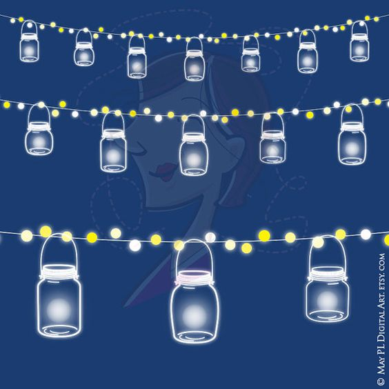 mason jars string lights glowing wedding fairy lights clipart commercial use save the date banner pink blue mason jar string lights