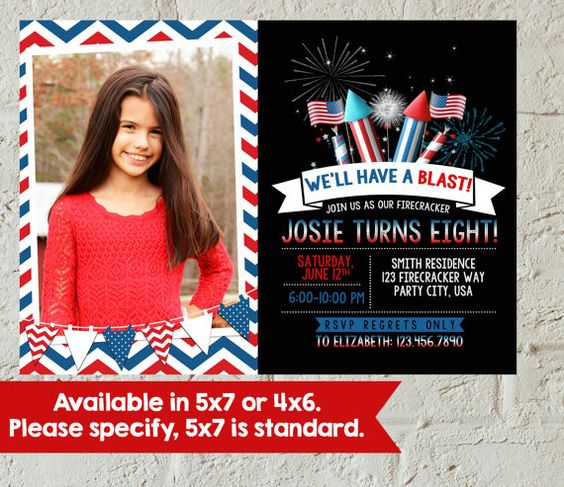4th of July Digital Birthday Invitation by EEZDesigns on Etsy