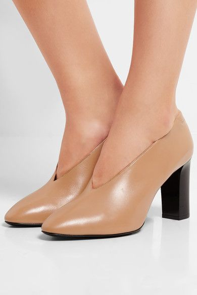 Heel measures approximately 85mm/ 3.5 inches Camel leather Slip on  Made in Italy: