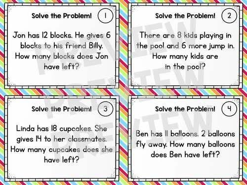Word Problem Solving Task Cards - Grade 1 Math Addition ...