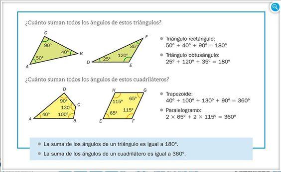 1º ESO ejercicios resueltos de triángulos y cuadriláteros - Buscar con Google