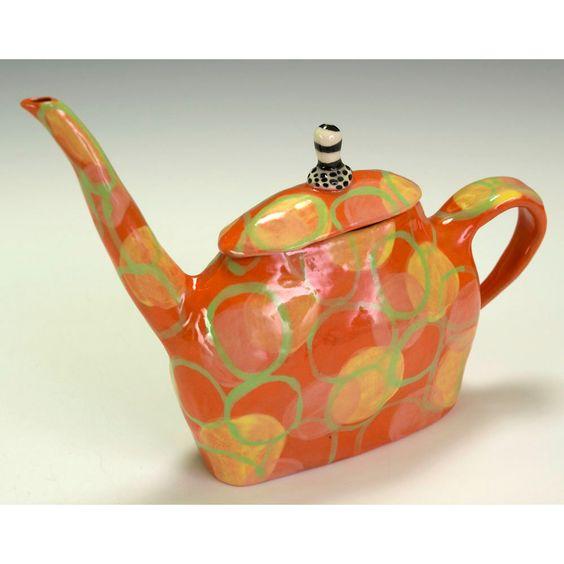 Orange Teapot with Floating Circles.. via Etsy.