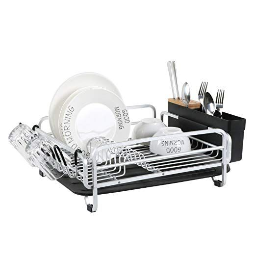 Aluminum Dish Drying Rack With Large Storage Cutlery Holder Removable Drainer Tray Bamboo Cover Cup Holder Fo Dish Racks Dish Rack Drying Toy Storage Bench