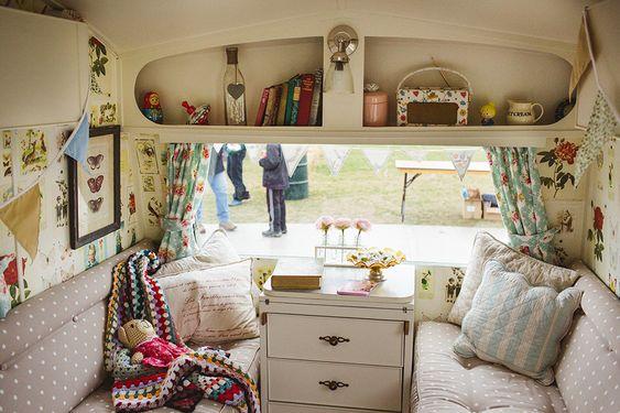 Stunning interior of the retro style Pippa caravan
