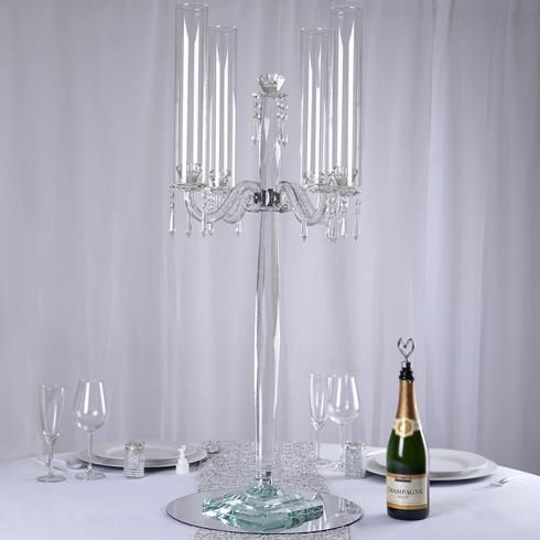 35 5 Tall Handcrafted 4 Arm Crystal Glass Candelabra Centerpieces