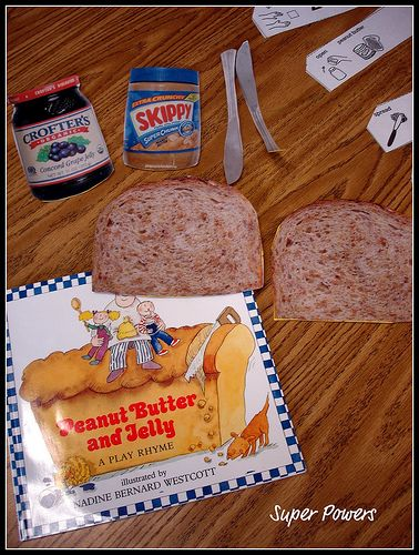"""Cool way to teach sequencing by making a """"fake peanut butter and jelly"""" sandwich :) Repinned by SOS Inc. Resources @sostherapy."""