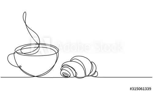 cup and croissant coffee tea vector sketch continuous line drawing hot drink and pastries buy this s in 2020 vector sketch continuous line drawing line drawing pinterest